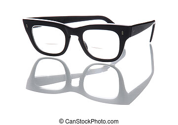 Old geeky style bifocal spectacles.