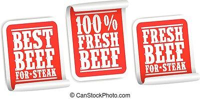 bifteck, autocollants, boeuf