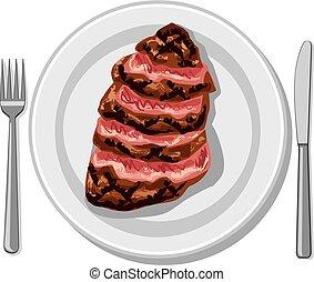 bifteck, boeuf, préparé