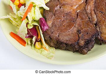 bifteck, boeuf, salade