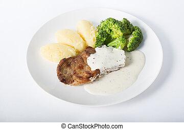 bifteck, garnir, boeuf, pomme terre