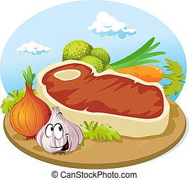 bifteck, planche, découpage, bois