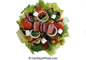 bifteck, salade