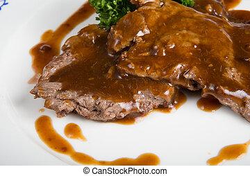 bifteck, sauce, boeuf