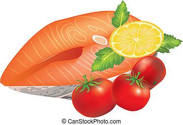 bifteck, saumon