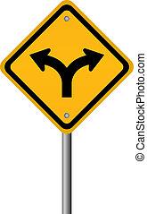 bifurque estrada, sinal