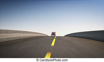 Big 18 wheeler - An 18 wheeler Semi-Truck speeding on...