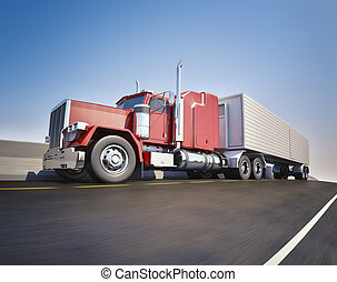 Big 18 wheeler - An 18 wheeler Semi-Truck sppeding on...