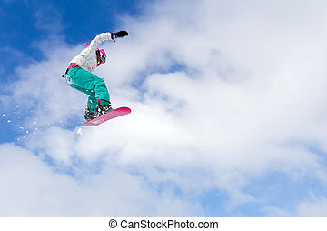 Big air girl - Female snowboarder making an awesome big jump...