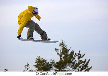 Big Air Jump on Snowboard