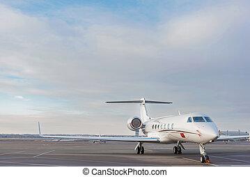 Big aircraft driving at landing strip