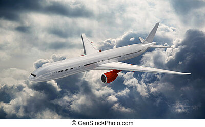 Big airplane above the clouds.