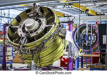 Big airplane engine during maintenance - An airplane engine...