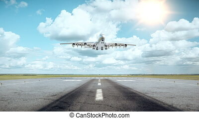 Big Airplane landing. - Front view. Clouds on a background....