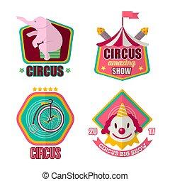 Big amazing circus show 2017 promotional emblems set