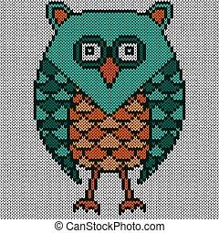 Big amusing serious owl
