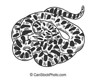 Big anaconda snake sketch engraving vector illustration. T-shirt apparel print design. Scratch board style imitation. Black and white hand drawn image.