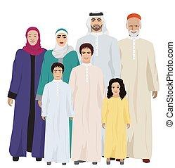 Big and Happy arab Family vector illustration