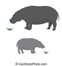 Big and little hippo - Vector image of big and little hippo