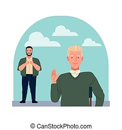 big and man in crutch perfectly imperfect characters vector illustration design