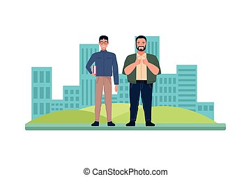 big and nerd men perfectly imperfect characters vector illustration design