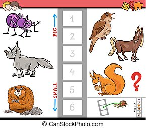 big and small animals cartoon activity game - Cartoon...