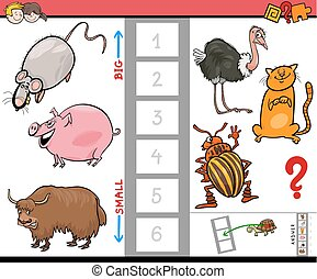 big and small animals cartoon game for kids