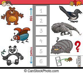 big and small animals educational game for kids - Cartoon...