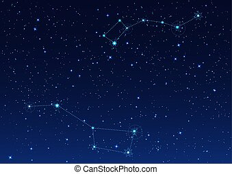 Big and Small Dipper constellation. Polar Star. Night starry...