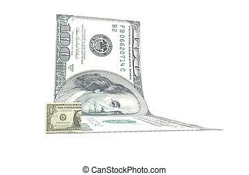 Big and small dollar - One dollar bille and a 100 dollar...