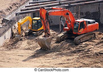 big and small excavators