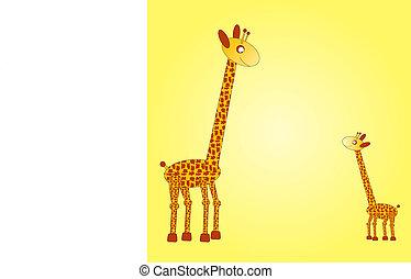 Big and small girafe on the yellow