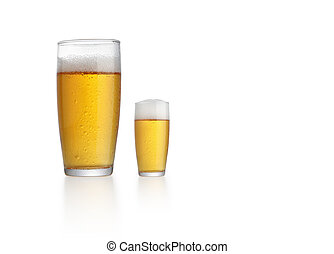 big and small glass of beer
