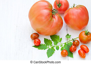 big and small red tomatoes on white wooden background