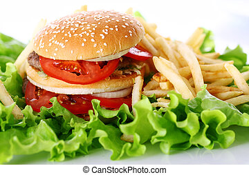 Big and tasty burger with fries