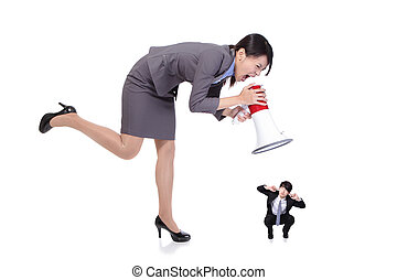 big angry boss business woman with megaphone yelling to small Staff business man , isolated on white background, asian model