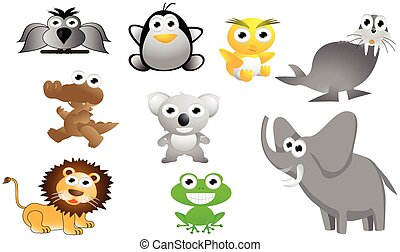 big animal cartoon set