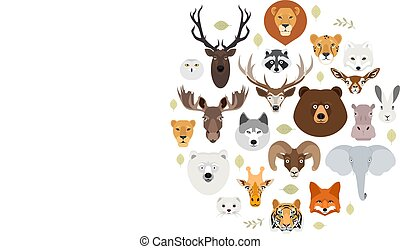 Big animal face icon set. Cartoon heads of fox, rhino, bear, raccoon, hare, lion, owl, rabbit, wolf, hippo, elephant, tiger, giraffe, moose, deer, elk, sheep, ram, ermine