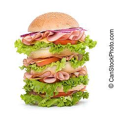 Junk food hamburger - Big appetizing fast food sandwich with...