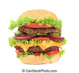 Big appetizing hamburger. Isolated on a white background.