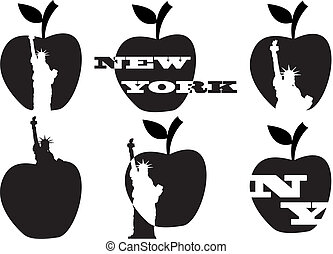 big apple and statue of liberty - illustration of big apple...