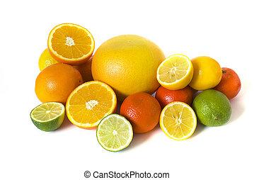 Big assortment of citrus isolated on white