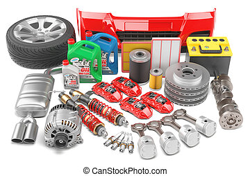 Big auto parts set isolated on a white background
