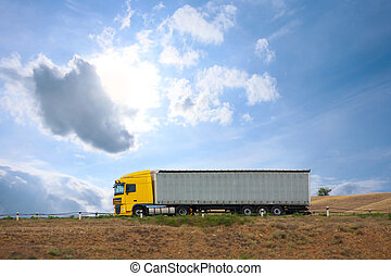 auto truck goes on the way - big auto truck goes on the way...