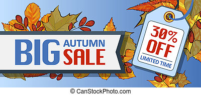 Big autumn sale banner horizontal, cartoon style
