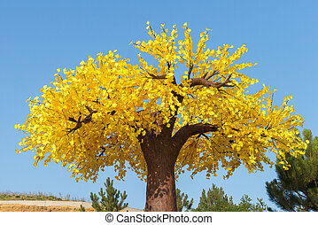 Big autumn tree with yellow leaves in the park at the blue sky background