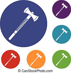 Big ax icons set