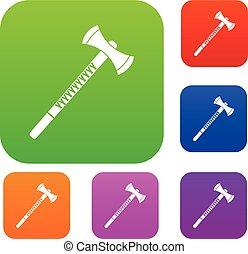 Big ax set color collection - Big ax set icon color in flat...