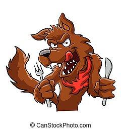 Big bad cartoon wolf. Hungry cartoon wolf .