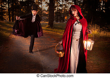 Big bad wolf - Red riding hood being chased by the big bad...